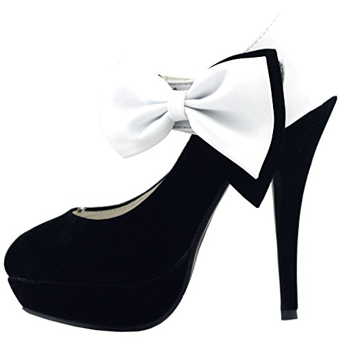 - SHOW STORY White Black Bow Ankle Strap Stiletto Platform Pumps,LF30412WT35,4US,White