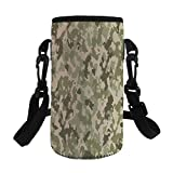 Small Water Bottle Sleeve Neoprene Bottle Cover,Camo,Old Fashioned Camouflage Pattern Classical Jungle Survival Theme,Army Green Pale Green Cream,Great for Stainless Steel and Plastic/Glass Bottles, S