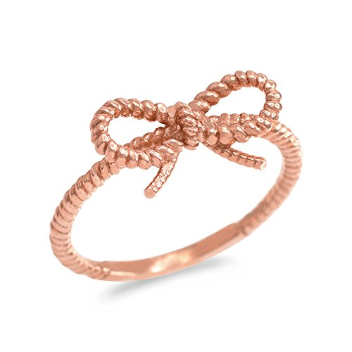 14k Gold Twisted Rope (14k Rose Gold Twisted Style Rope Band Bow Tie Ribbon Ring (Size 6))