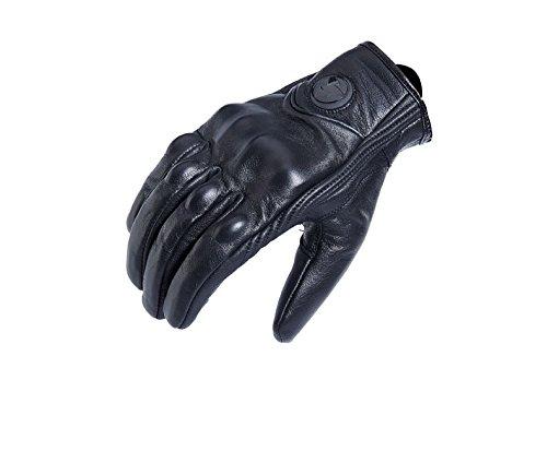 Ocamo Motorbike Breathable Leather Riding Gloves Touch Screen Anti-slip Racing Full Finger Gloves black XXL