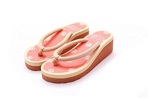 mhgao Ladies Casual zapatillas rosa patrón de flores para una cómoda zapatillas de casa, 7, medium 4