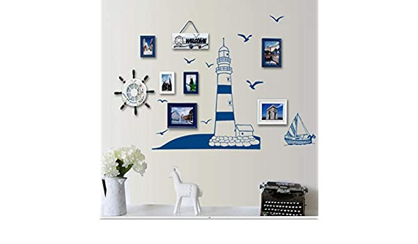 Personalizado Diy Azul Velero Niños Habitaciones Decorativas Pvc ...