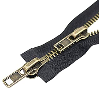 """YaHoGa #8 30 Inch Two Way Separating Jacket Zipper Antique Brass Metal Zippers for Jackets Coats Sewing Crafts (30"""" TW Anti-Brass)"""