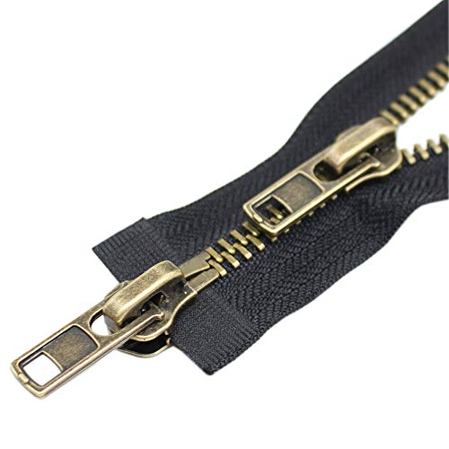 YaHoGa #8 30 Inch Two Way Separating Jacket Zipper Antique Brass Metal Zippers for Jackets Coats Sewing Crafts (30