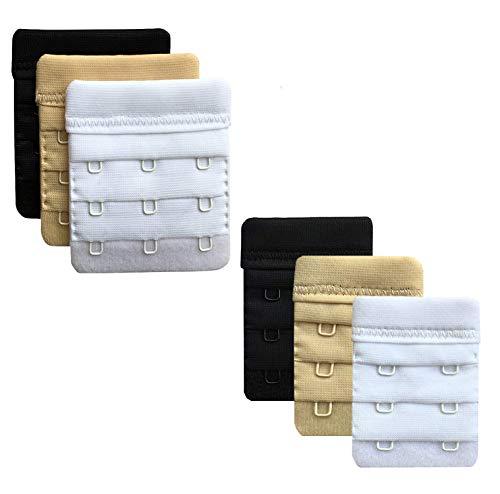 Bra Extender, Sooncoming 2 Hooks / 3 Hooks Women Bra Extension Strap Band Bra Extenders Pack of 6 (Black, White, Beige) (Non-Flexible)