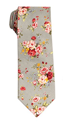 - SPREZZA Men's Floral Tie Gray & Pink Classic 2.75 inch Slim Cotton Necktie