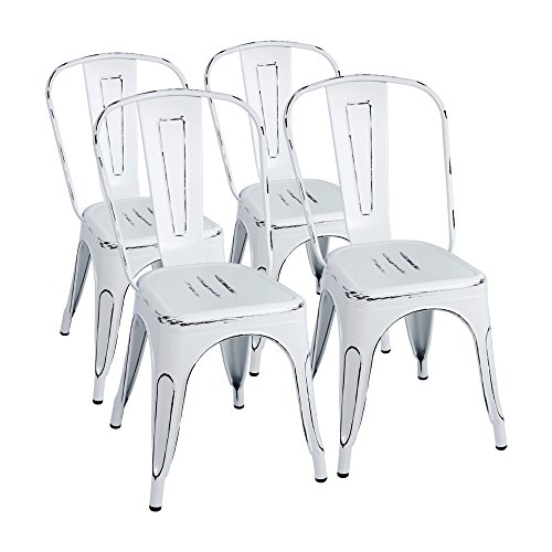 Furmax Metal Chairs Distressed Style Dream White Indoor/Outdoor Use Stackable Chic Dining Bistro Cafe Side Chairs Set of 4 Distressed White