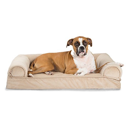 41ZQCJcEAkL - Best Friends by Sheri Orthopedic Joint Relief Bolster Sofa - Luxury Dog Bed with CertiPUR High-Density USA Foam for Superior Support and Cozy Comfort – Removable Zippered Cover, Machine Washable, Water-Resistant Bottom – For Medium Pets Up to 50lbs