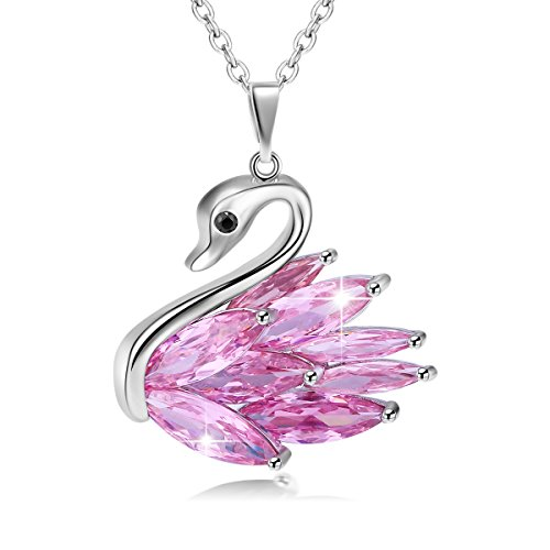 JUFU Charm Jewelry Elegant Platinum Plated Swan Pendant Necklace Brides Rolo Chain 18