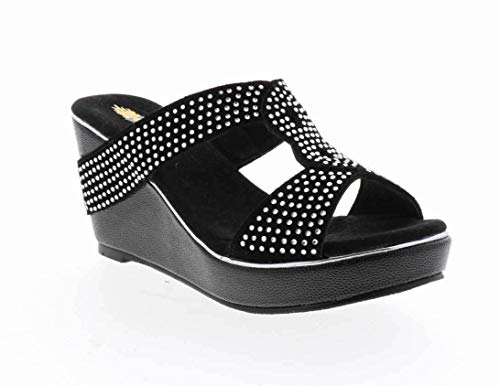 VOLATILE Women's Rhiannon Jewelled Slide Wedge Sandal (9 M, Black)