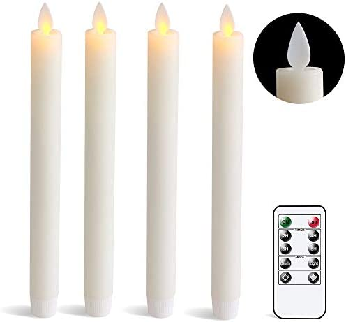 DRomance Remote Flameless Taper Candles with Timer, Moving Wick Battery Operated LED Window Candles 0.78 x 9.5 Inches Real Wax Amber Yellow Christmas Window Decoration Candles Set of 4 Ivory