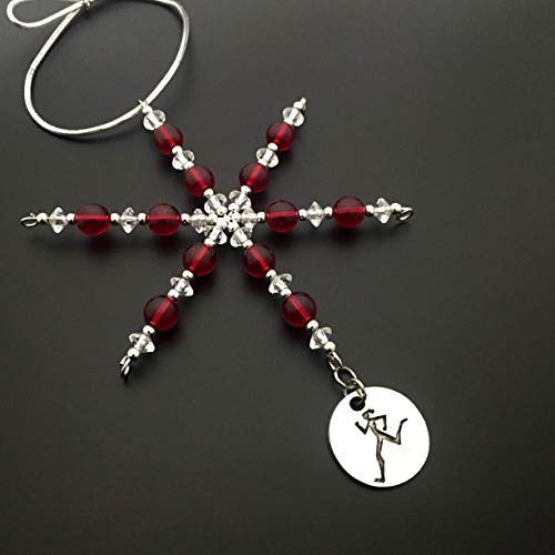 RUNNER GIRL Ornament - Beaded Snowflake Christmas Ornament/Gift Tag with Round Pewter Runner Girl Charm with Jewelry Box - Handmade with Red Vintage Beads (Runner Christmas Ornament)