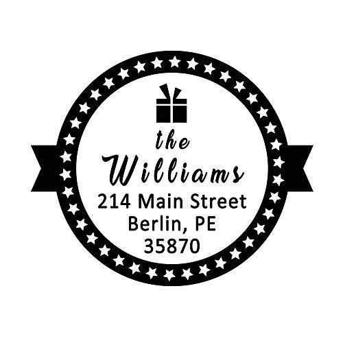 Return Address Stamp Personalized Five-Pointed Star Surround Rustic Gift Box Wedding Invitation Save the Date Label Christmas Present Custom Stamper Circular Diameter 1.65inch ()