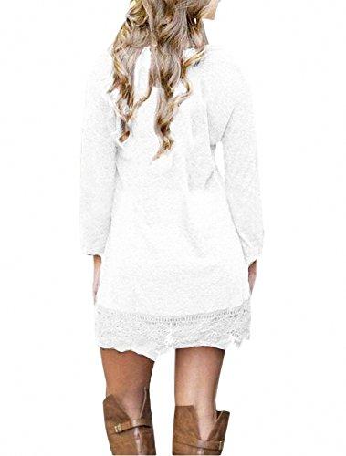 donna casual maniche a lunghe pizzo in lunghe Afibi con bianco da Abito maniche qC77EwT