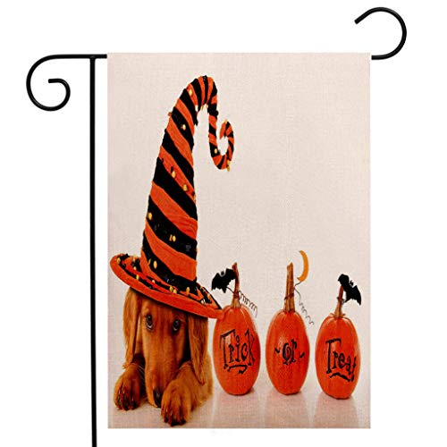 BEIVIVI Creative Home Garden Flag Halloween Cute Puppy Wearing a Witch Hat Trick or Treat Little Bats Festive Funny Orange Black Brown Garden Flag Waterproof for Party Holiday Home Garden Decor