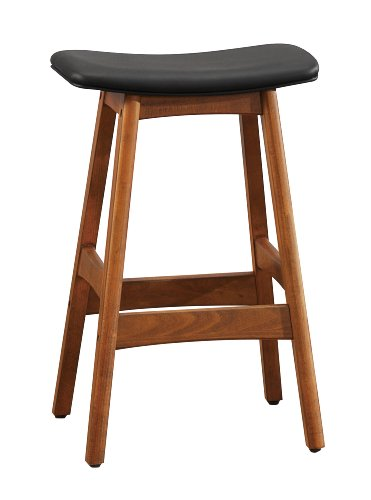 Less Saddle Bar Stools - Homelegance 1188BK-24 Bi-Cast Vinyl Counter Height Stool (Set of 2), Black