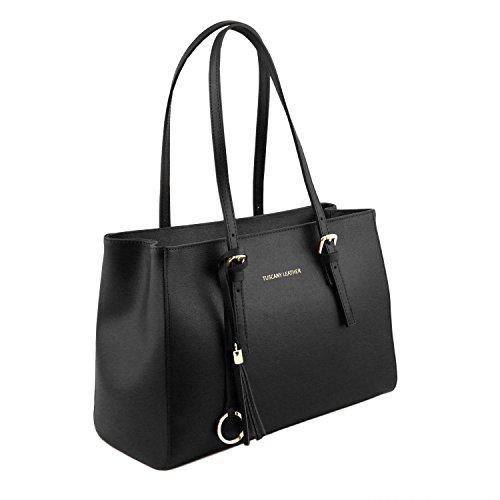 Tuscany Leather TL Bag - Borsa a tracolla in pelle Saffiano - TL141518 Nero
