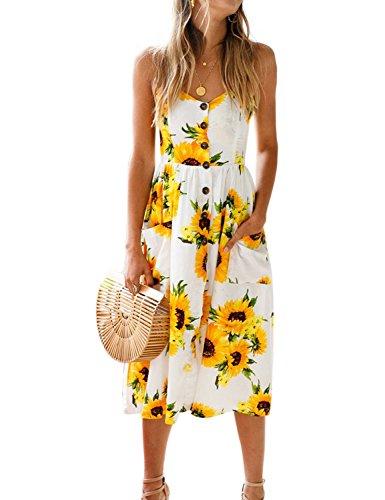 Blooming Jelly Womens Summer Sleeveless Hawaiian Dresses High Waist Button Down Floral Boho Midi Chiffon Dress with Pockets,Small,sunflower