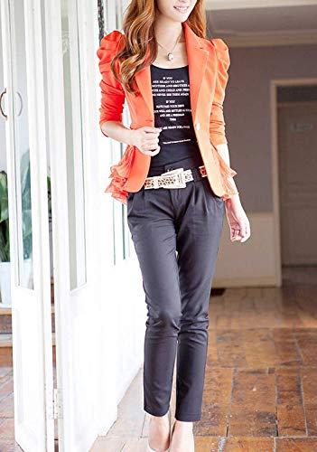 Lunga Lunga Lunga Arancia da da da Donna Autunno Volant Fashion Fit Slim Coat con Manica Eleganti Chic Business Ufficio Giacca Bavero Blazer Camicia Tailleur con Primaverile w156qX5