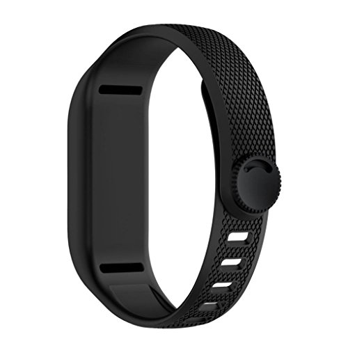 Sinwo Soft Silicone Replacement Strap Band Accessory Wristbands For Garmin Vivofit 3 (Black)