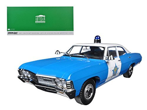1967 Chevy Biscayne City of Chicago Police Department, Blue with White Roof - Greenlight 19009 - 1/18 Scale Diecast Model Toy Car