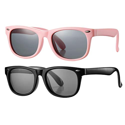 Kids Polarized Sunglasses TPEE Rubber Flexible Shades for Girls Boys Age 3-10 (ALL Pink + Bright Black)