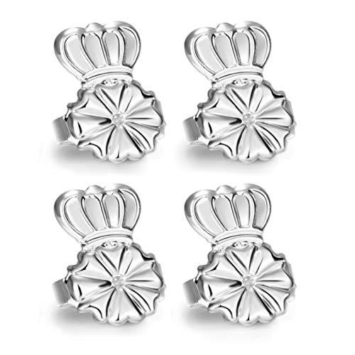 AmzonBasics - Original Magic Earring Lifters Adjustable Earring Lifts Earring Backs Bullets and Patches 2 Pairs Earring Lifters Backs Silver (Earring Lifters Silver)