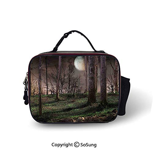 Gothic Insulated Lunch Bag Dark Night in the Forest with Full Moon Horror Theme Grunge Style Halloween Soft Liner Lunch Bags,10.6x8.3x3.5 inch,Brown Green Yellow