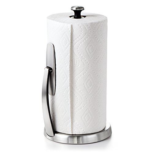 (OXO Good Grips SimplyTear Standing Paper Towel Holder, Brushed Stainless Steel)