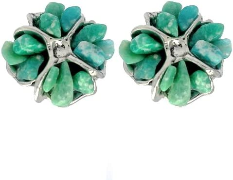 Pendientes con forma de flor de piedra de Amazonita en forma de flor – Pendientes de fiesta, idea de regalo