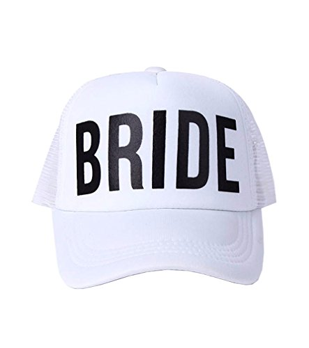 BRIDE TO BE TEAM BRIDE Bachelorette Caps Neon Summer Mesh (White)