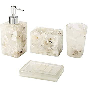 Bon AIMONE Bathroom Accessory Set, Natural White Marble Inside Bath Gift Set Of  4 Pieces,