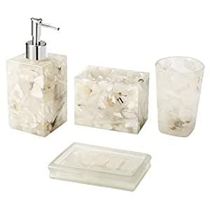 Amazoncom AIMONE High Class Natural White Marble 4 Pieces