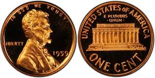 1959 Gem Proof Lincoln Memorial Cent Penny Proof US (1959 Mint Set)