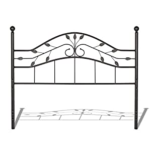 Fashion Bed Group Sycamore Headboard with Arched Metal Panel and Leaf Pattern Design