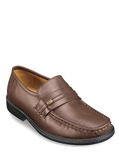 Slip Shoes On Leather Brown Genuine 0qzOxn