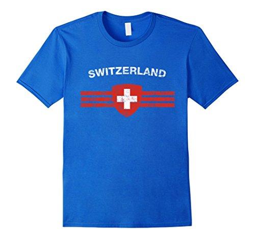 Swiss Emblem - Mens Swiss Flag Shirt - Swiss Emblem & Switzerland Flag Shirt XL Royal Blue