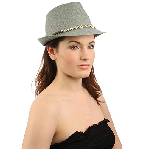 - SK Hat shop Ladies Bling Rhinestone Belted hatband Summer Fedora Trilby Hat Cap S 56cm Gray