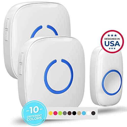 Wireless Doorbell by SadoTech - Waterproof Door Bells & Chimes Wireless Kit - Over 1000-Foot Range, 52 Door Bell Chime, 4 Volume Levels with LED Flash - Wireless Doorbells for Home - Model CXR (White)