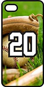Baseball Sports Fan Player Number 20 Black Plastic Decorative iPhone 5/5s Case by lolosakes