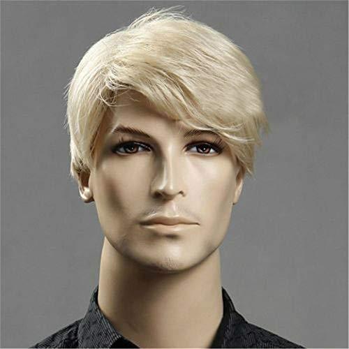 JYWIGS Male Wig Blond Short Hair for Men Side Swept Bangs