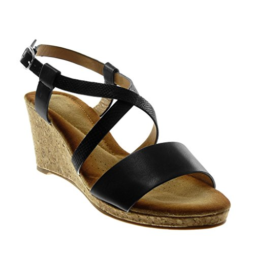 Angkorly Women's Fashion Shoes Sandals Mules - Ankle Strap - Multi Straps - Snakeskin - Cork Wedge 7.5 cm Black