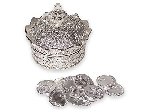 - Elegant Silver Crown Wedding Arras with 13 coins set