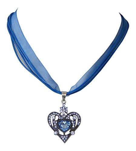 Trachtenschmuck Dirndl Kette Kristall Herz ornamentales Design - Sapphire blau / hellblau