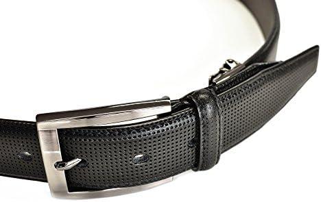 (ケンショウアベ) レザーベルト メンズ カジュアル ビジネス 本革 牛革 35mm幅 紳士 スーツ パンチングレザー | AKC1913