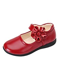 Moonker Kids Baby Girls Princess Single Casual Shoes for 3-14 Years Old Teen Children Flower Perform Dance Shoes