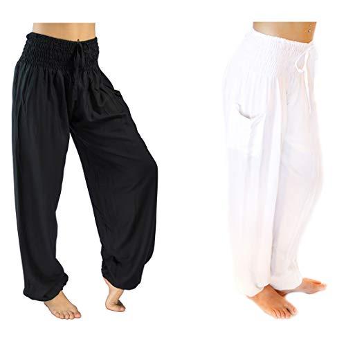 PI Yoga Pants - Women's Lounge Boho Athleisure Wear, Scrunched Bottom (Stretches from US Size 0-12) - 2 Pair Bundle (Black and Kundalini White)