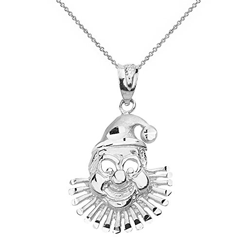 (Clown Face Pendant Necklace in 925 Sterling Silver, 16