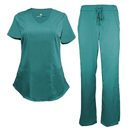 Natural Uniforms Women's Ultra Soft Modern Fit Mock Wrap Scrub Set (Teal, Medium) ()