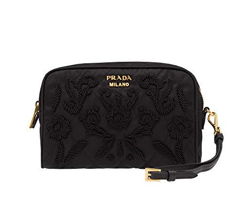 Prada Black Contentore Maniglia Cosmetic Pouch Tessuto Impunto Embroidered Nylon Clutch Wristlet 1NE021 ()